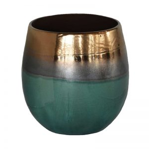 Large Moon Vase Green / Bronze