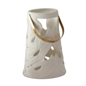 Ceramic Lantern Monstera Leaf White