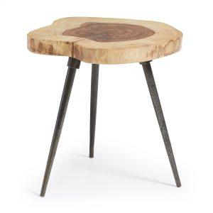 Craft side table metal legs sheesham wooden top