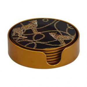 Glass Coaster Leopard Chain Set of 6