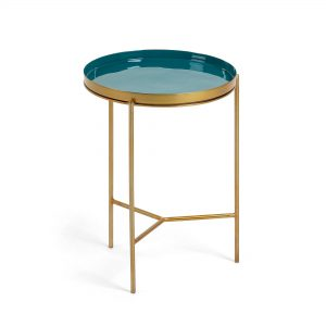 NAOKO Side table brass metal & green enamel